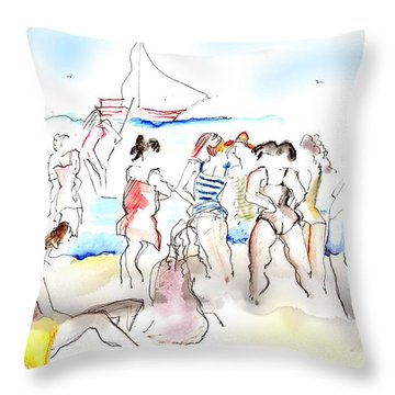 A Busy Day At The Beach Throw Pillow