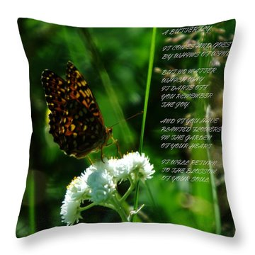 A Butterfly Poem About Love Throw Pillow by Jeff Swan