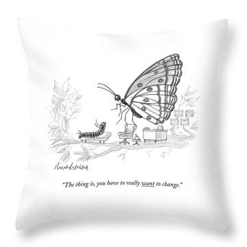 A Butterfly Speaks To A Caterpillar Throw Pillow