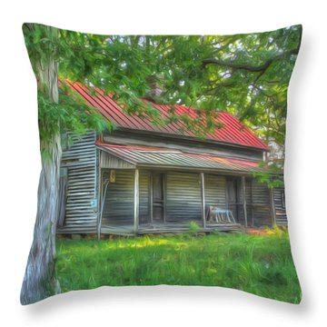 A Cabin In The Woods Throw Pillow by Dan Stone