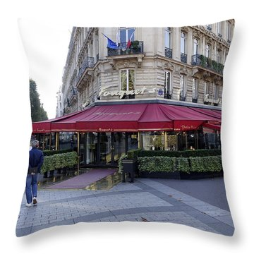 A Cafe On The Champs Elysees In Paris France Throw Pillow