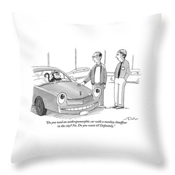 A Car Salesman Gives A Pitch To A Prospective Throw Pillow