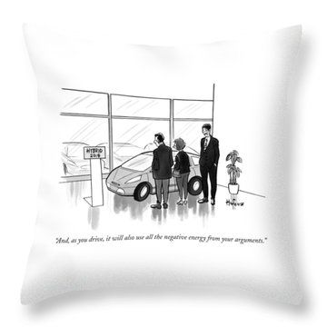 A Car Salesman Talks To A Couple In A Showroom Throw Pillow