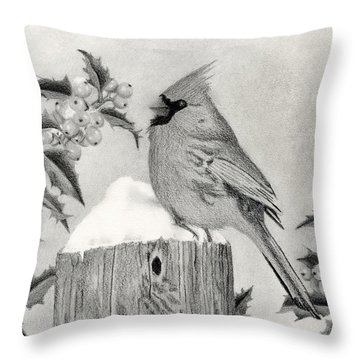 Cardinal And Holly Throw Pillow by Sarah Batalka