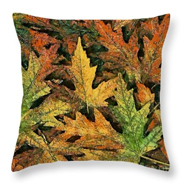 Throw Pillow featuring the painting A Carpet Of  Falling Leaves by Dragica  Micki Fortuna