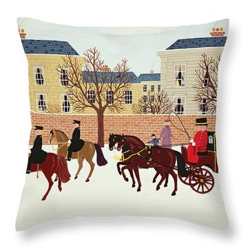A Carriage Escorted By Police Throw Pillow by Vincent Haddelsey