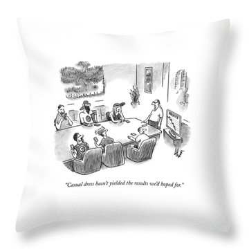 A Casually Dressed Man Stands At The Head Throw Pillow