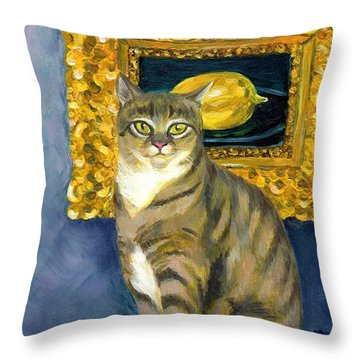 A Cat And Eduard Manet's The Lemon Throw Pillow