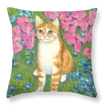 A Cat And Meadow Flowers Throw Pillow