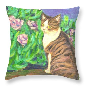 A Cat At A Garden Throw Pillow