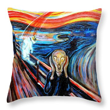 A Cat For Edvard Munch_ Annie Passing Through Throw Pillow
