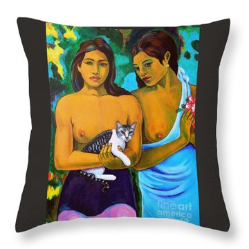 A Cat For Gauguin_ A Tahitian Feline Throw Pillow