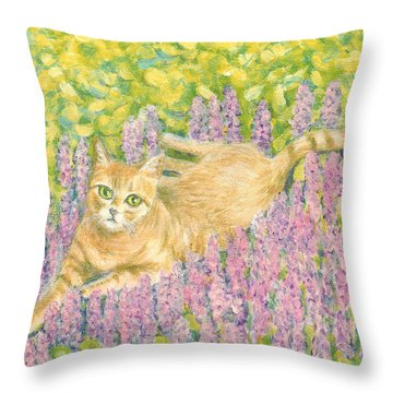 A Cat Lying On Floral Mat Throw Pillow