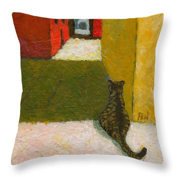 A Cat Waiting For Someone's Return Throw Pillow