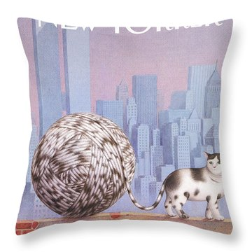 A Cat With A Ball Of String For A Tail Throw Pillow