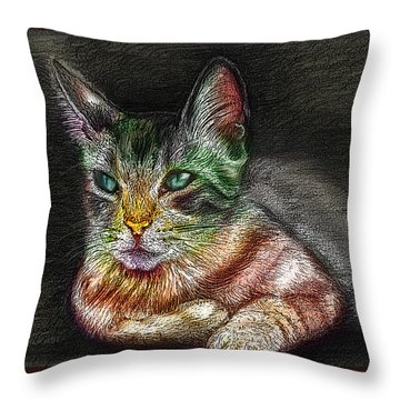 Savanna Cat  Throw Pillow by Remy Francis