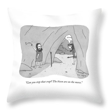 A Caveman Speaks To Another Caveman Who Throw Pillow