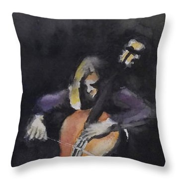 A Cellist Throw Pillow by Yoshiko Mishina
