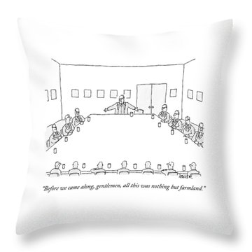 A Ceo Stands And Talks To Employees In A Business Throw Pillow