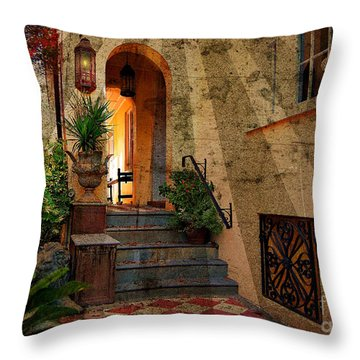 Throw Pillow featuring the photograph A Charleston Garden by Kathy Baccari