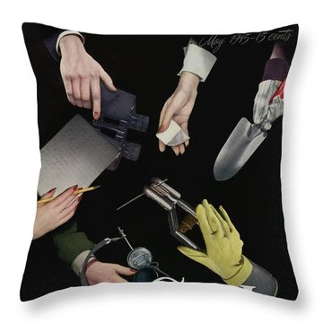 A Charm Cover Of Women's Hands Reaching For Tools Throw Pillow