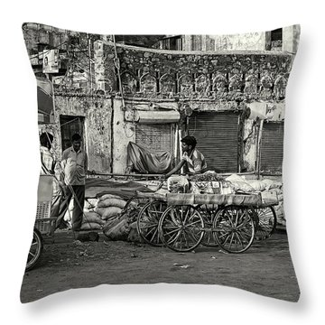 A Chat Among Friends Throw Pillow