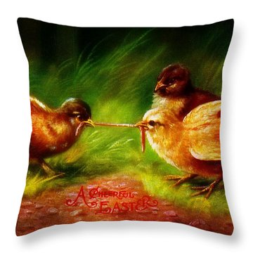 A Cheerful Easter Vintage 1906 Postcard Throw Pillow
