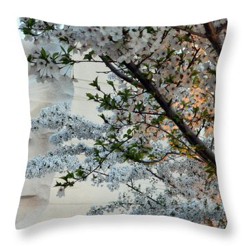 Throw Pillow featuring the photograph A Cherry Blossomed Martin Luther King by Cora Wandel