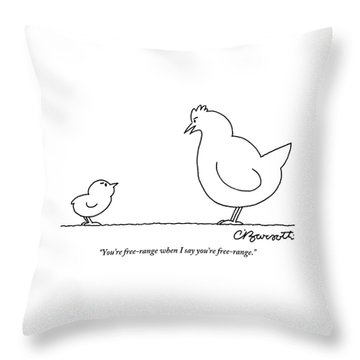 A Chicken Tells Her Baby Chick Throw Pillow