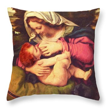 Throw Pillow featuring the digital art A Child Is Born by Lianne Schneider