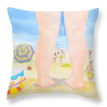 A Child Remembers The Beach Throw Pillow by Michele Myers