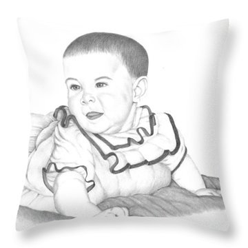 Throw Pillow featuring the drawing A Child's Look Of Wonder by Patricia Hiltz
