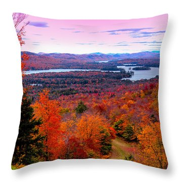 A Chilly Autumn Day On Mccauley Mountain Throw Pillow