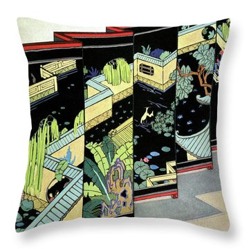A Chinese Screen Throw Pillow
