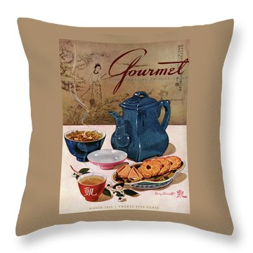 A Chinese Tea Pot With Tea And Cookies Throw Pillow