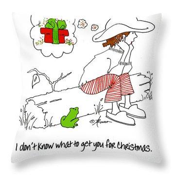 A Christmas Frog Throw Pillow