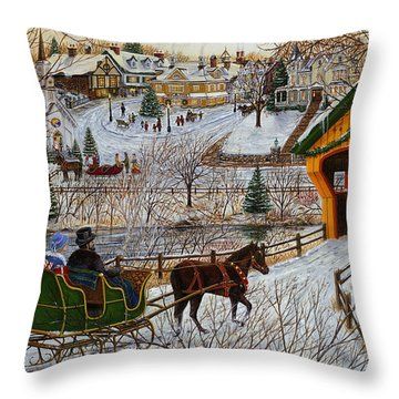 A Christmas Sleigh Ride Throw Pillow by Doug Kreuger