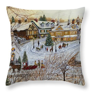 A Christmas Village Throw Pillow by Doug Kreuger