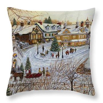 A Christmas Village Throw Pillow
