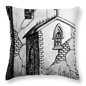 Throw Pillow featuring the painting Old Church by Salman Ravish
