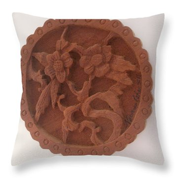 A Circle Of Flowers Throw Pillow by Esther Newman-Cohen