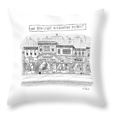 A City Block Is Full Of Buildings With Glass Throw Pillow