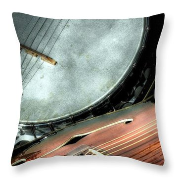 Throw Pillow featuring the photograph A Classic Pairing Digital Guitar And Banjo Art By Steven Langston by Steven Lebron Langston
