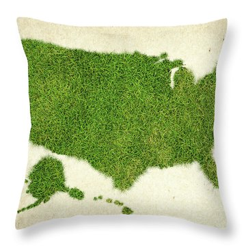 United State Grass Map Throw Pillow