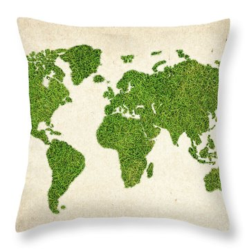 World Grass Map Throw Pillow