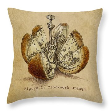 Steampunk Orange - Option Throw Pillow