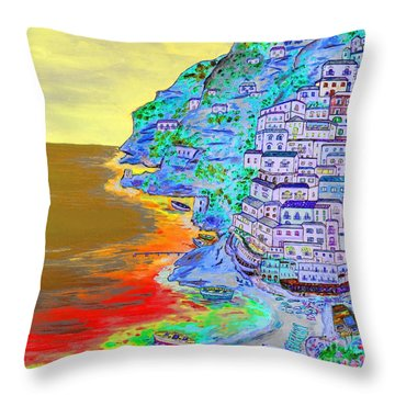 A Coastal View Of Positano Throw Pillow