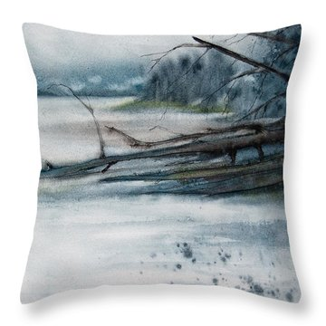 Throw Pillow featuring the painting A Cold And Foggy View by Jani Freimann