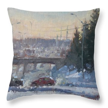 A Cold Morning Throw Pillow