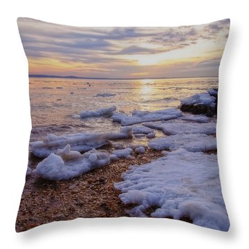 Throw Pillow featuring the photograph A Cold Sandy Hook Winter by Debra Fedchin